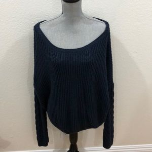 Tobi Navy Off Shoulder Sweater